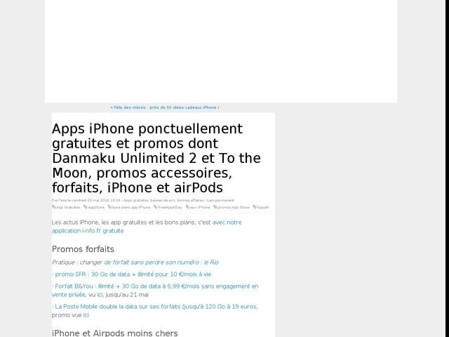 Apps iPhone ponctuellement gratuites et promos dont Danmaku Unlimited 2 et To the Moon, promos accessoires, forfaits, iPhone et airPods