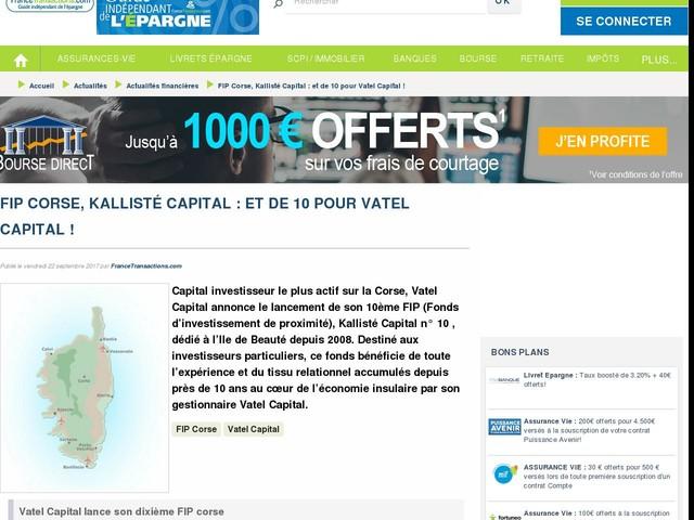 FIP Corse, Kallisté Capital : et de 10 pour Vatel Capital !