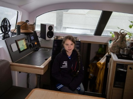 Greta Thunberg a quitté les Etats-Unis en catamaran, direction l'Europe (AFP)