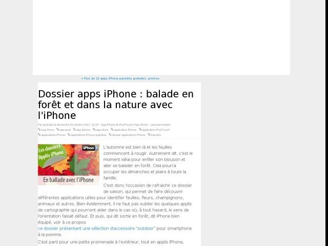 Dossier apps iPhone : balade en forêt et dans la nature avec l'iPhone