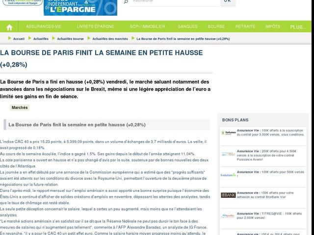 La Bourse de Paris finit la semaine en petite hausse (+0,28%)