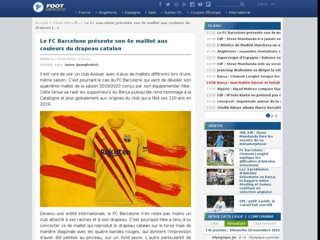 Le FC Barcelone présente son 4e maillot aux couleurs du drapeau catalan