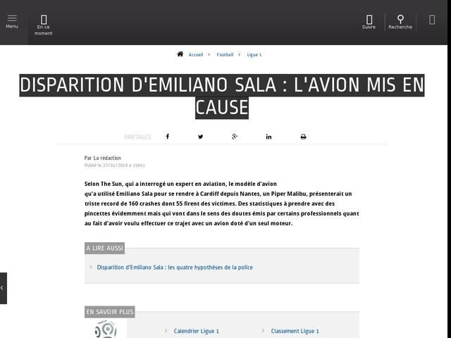 Football - Ligue 1 - Disparition d'Emiliano Sala : l'avion mis en cause