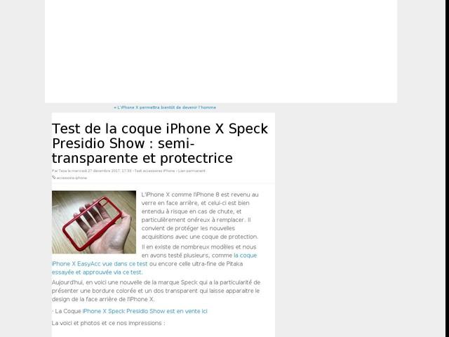 Test de la coque iPhone X Speck Presidio Show : semi-transparente et protectrice