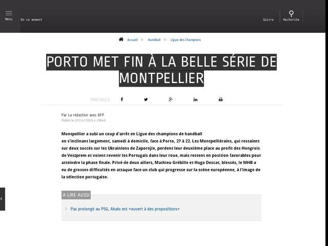 Handball - Ligue des Champions - Porto met fin à la belle série de Montpellier