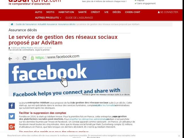 Le service de gestion des réseaux sociaux proposé par Advitam