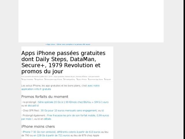 Apps iPhone passées gratuites dont Daily Steps, DataMan, Secure+, 1979 Revolution et promos du jour