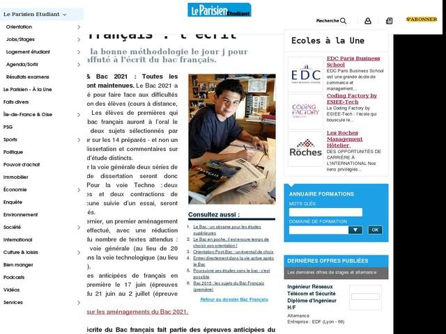 Bac français : l'écrit