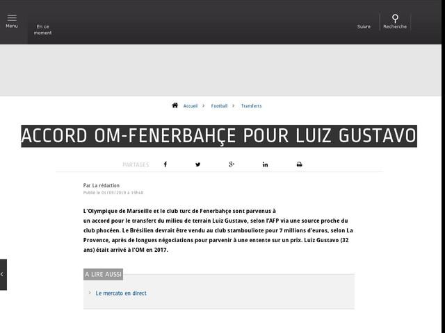 Football - Transferts - Accord OM-Fenerbahçe pour Luiz Gustavo