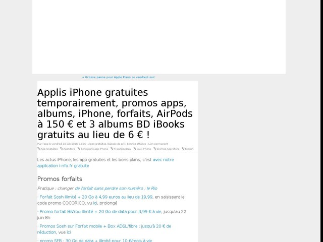 Applis iPhone gratuites temporairement, promos apps, albums, iPhone, forfaits, AirPods à 150 € et 3 albums BD iBooks gratuits au lieu de 6 € !