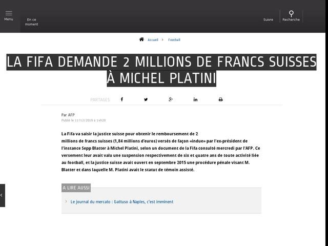 Football - La Fifa demande 2 millions de francs suisses à Michel Platini