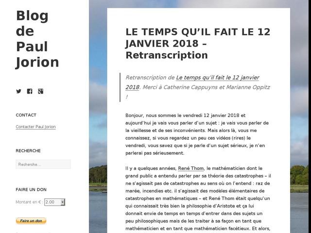 LE TEMPS QU'IL FAIT LE 12 JANVIER 2018 – Retranscription