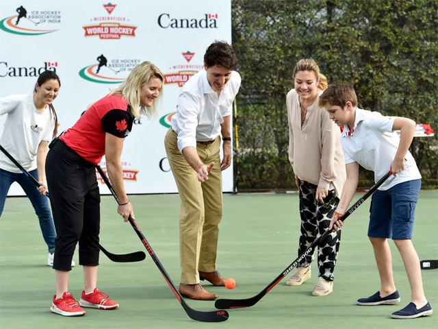 Canadian PM Trudeau participates in Delhi hockey event