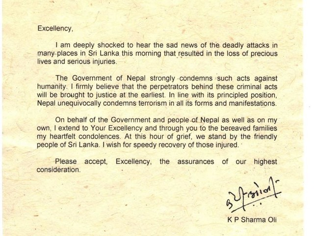 Nepal condemns Sri Lankan terror attacks; PM, FM extend condolences