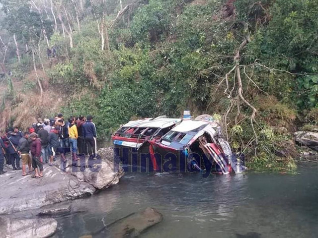 One killed, seven injured in Lamjung bus plunge