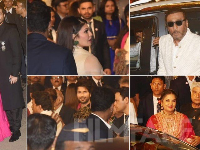 Sonam Kapoor Anil Kapoor Shahid Kapoor attend Isha Ambaniâs wedding