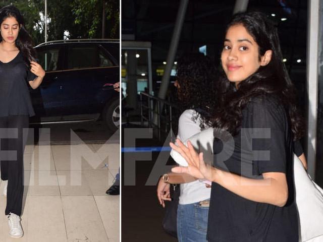 Janhvi Kapoor sports a no-make up look as sheâs snapped at the Mumbai airport