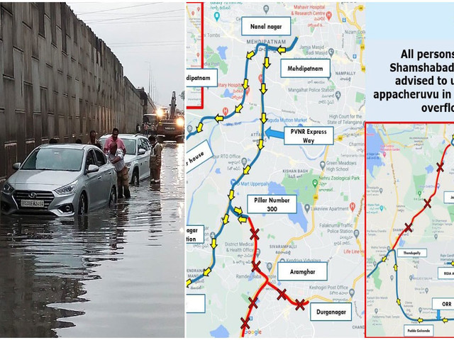 Cyberabad Traffic Police advises citizens to take ORR for reaching RGIA as APPA Cheruvu overflows