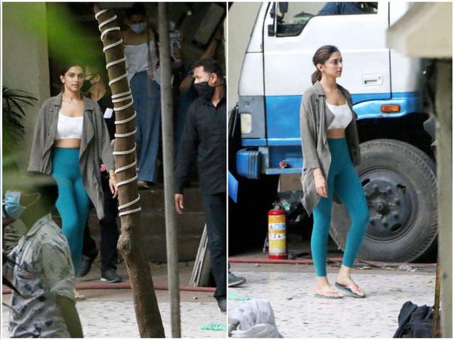 Deepika spotted at Shakun Batra's movie sets