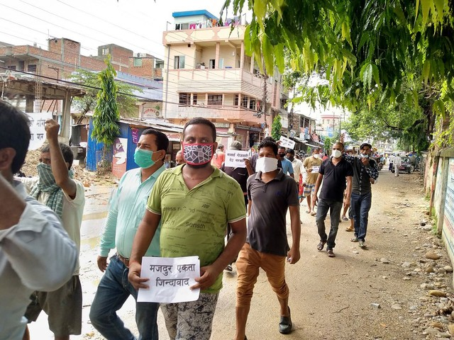 Public transportation workers stage protest in Rajbiraj