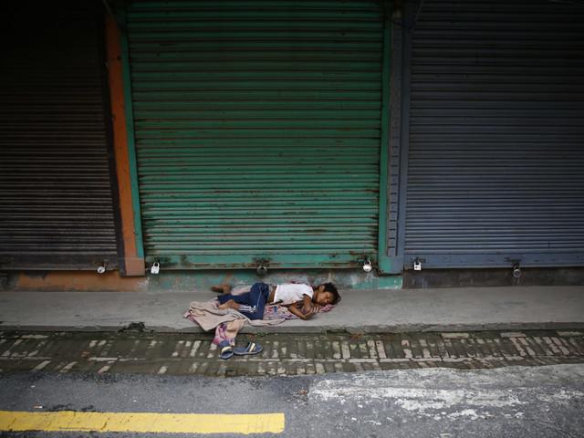Street children in winter