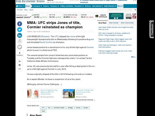 MMA: UFC strips Jones of title, Cormier reinstated as champion
