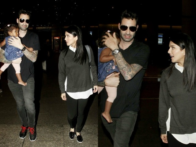 Pics: Sunny Leone and husband Daniel Weber spotted with their daughter Nisha at the airport