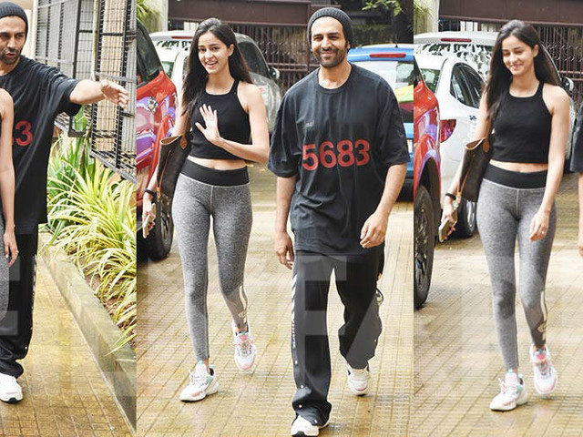 Ananya Panday and Kartik Aaryan snapped after dance rehearsals