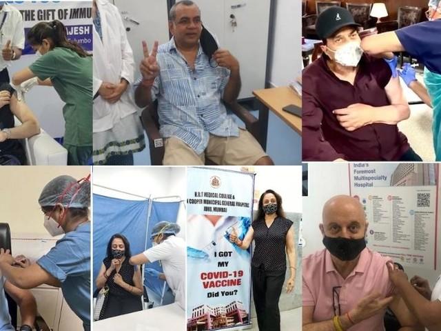 बॉलिवूडमधील या कलाकारांनी घेतला व्हॅक्सिनचा पहिला डोस; पाहा PHOTO