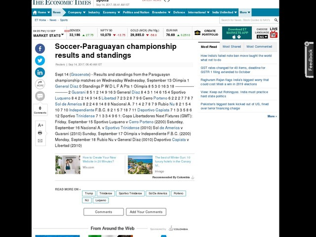 Soccer-Paraguayan championship results and standings