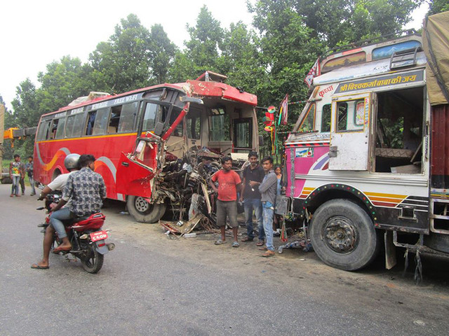 2 killed, 32 injured in Nawalpur bus-truck collision