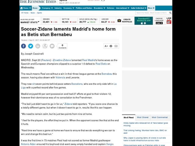 Soccer-Zidane laments Madrid's home form as Betis stun Bernabeu