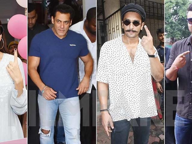 Salman Khan Anushka Sharma Arjun Kapoor Ranveer Singh cast their vote