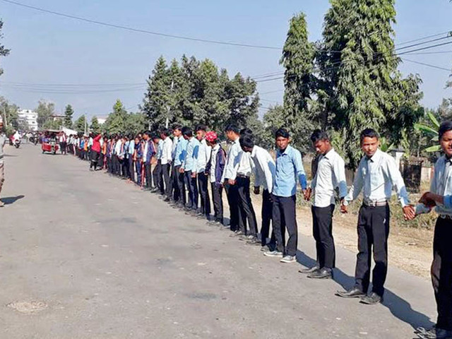 Locals form human chain to protest seeking justice for Nirmala Panta