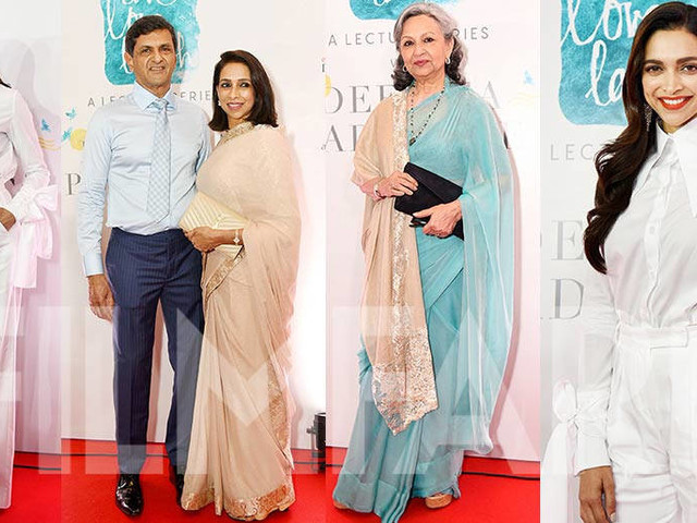 Deepika Padukone attends an event in Delhi with her family