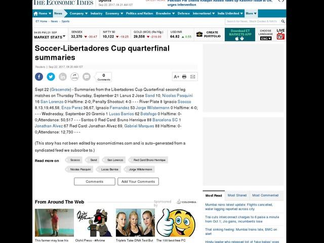 Soccer-Libertadores Cup quarterfinal summaries