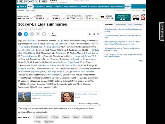 Soccer-La Liga summaries