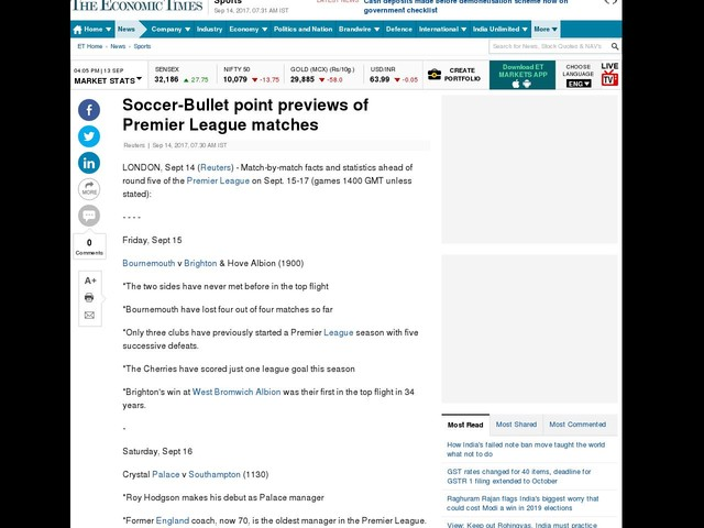 Soccer-Bullet point previews of Premier League matches