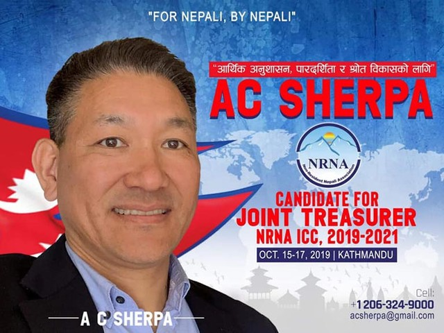 Honorary Consul Sherpa announces candidacy for NRNA joint treasure
