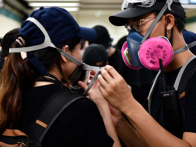 Gas masks & hard hats at Hong Kong's pop-up store