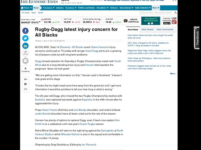 Rugby-Dagg latest injury concern for All Blacks