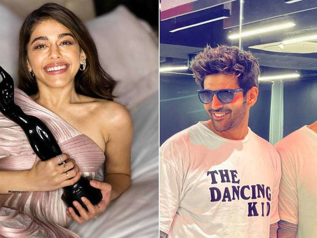 Alaya F and Kartik Aaryan snapped while shooting for Freddy