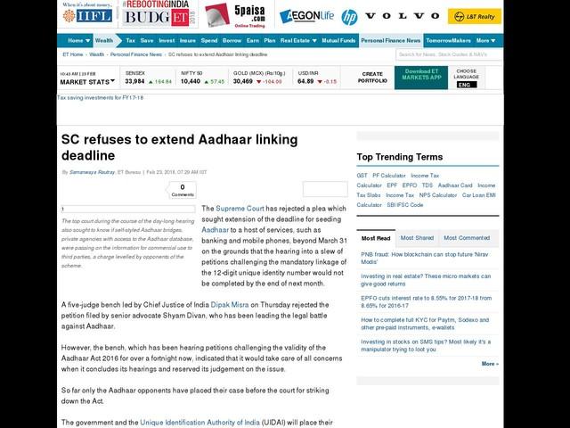 SC refuses to extend Aadhaar linking deadline