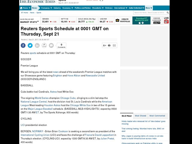 Reuters Sports Schedule at 0001 GMT on Thursday, Sept 21