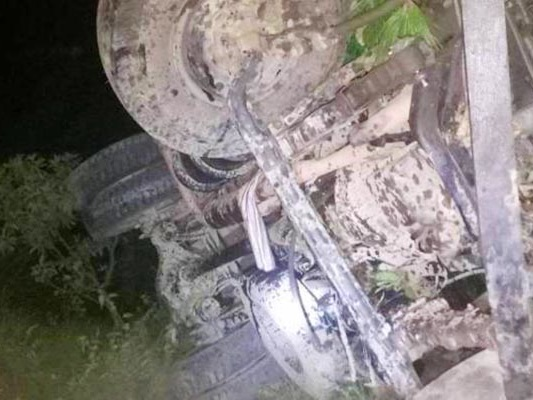 Three dead as tipper truck plunges 300m in Dhading