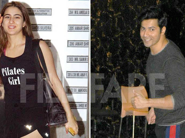 Coolie No.1 duo Varun Dhawan and Sara Ali Khan snapped in the city
