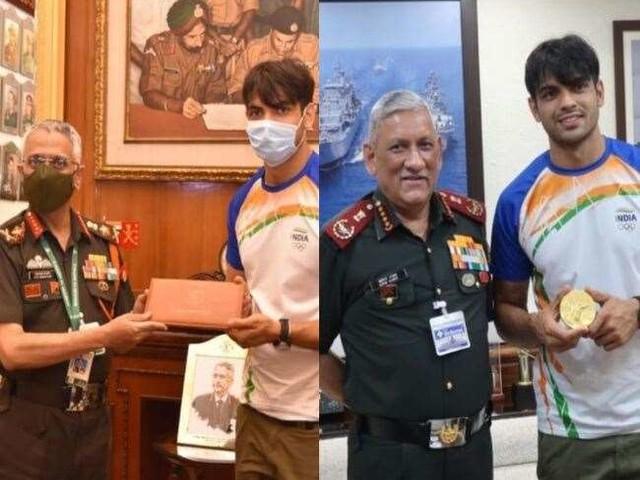 सीडीएस जनरल बिपिन रावत और सेना प्रमुख एमएम नरवणे से मिले सूबेदार नीरज चोपड़ा, दोनों ने दी टोक्यो ओलिंपिक में गोल्ड की बधाई