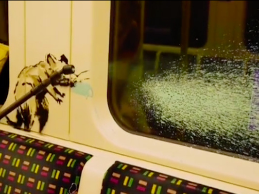 Banksy coronavirus graffiti removed from London train