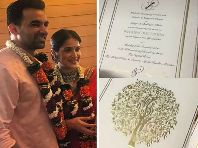 Zaheer-Sagarika's reception invitation card