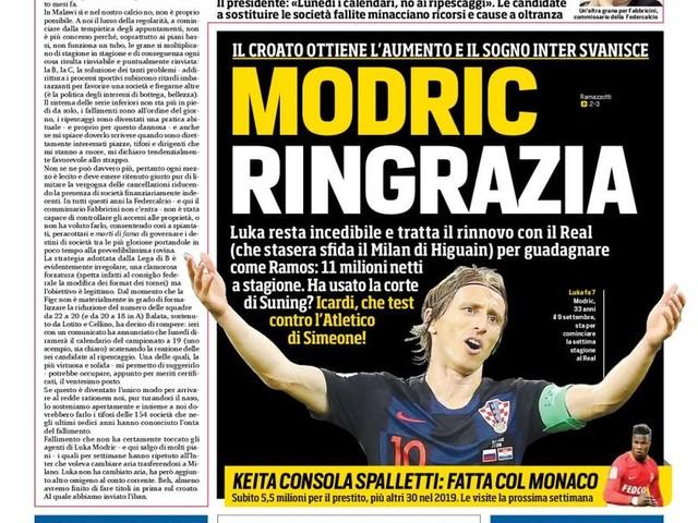 Corriere dello Sport – Modric ringrazia